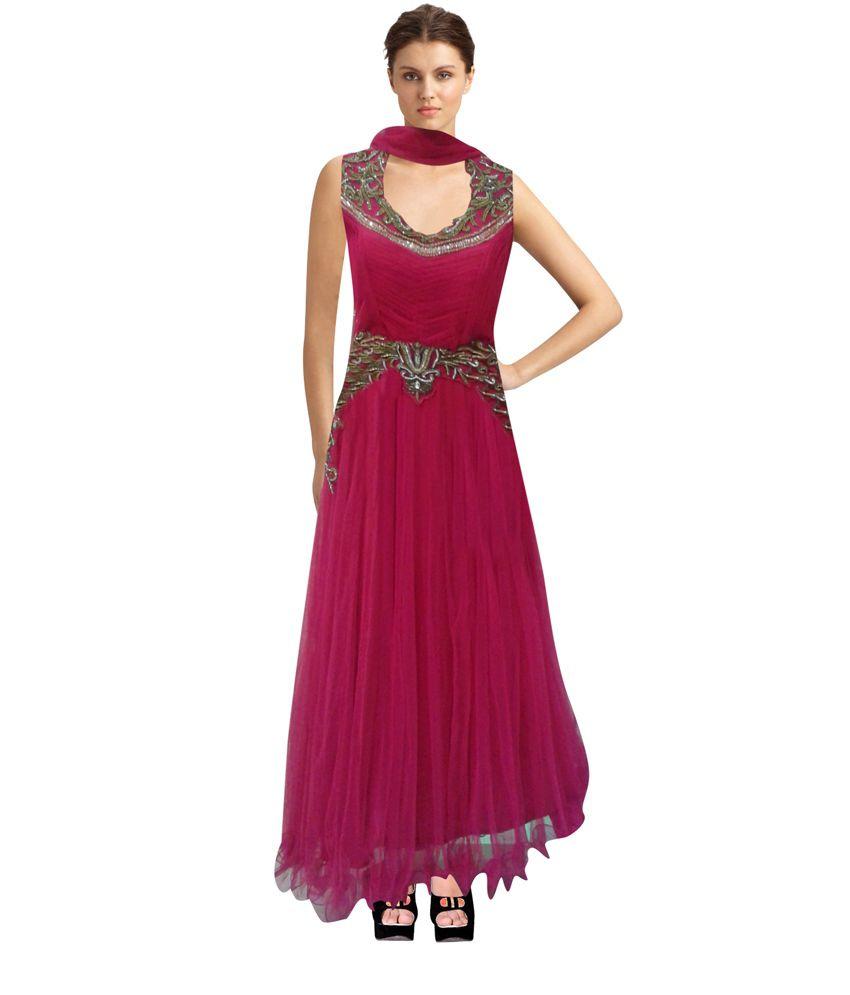 Ananya Maroon Net Anarkali Embroidered Salwar Suit