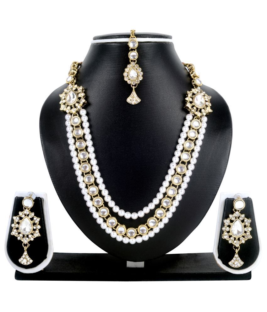 Atasi International White Alloy Necklace Set