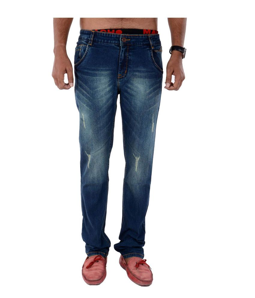 Bendiesel Faded Slim Fit Blue Cotton Jeans For Men
