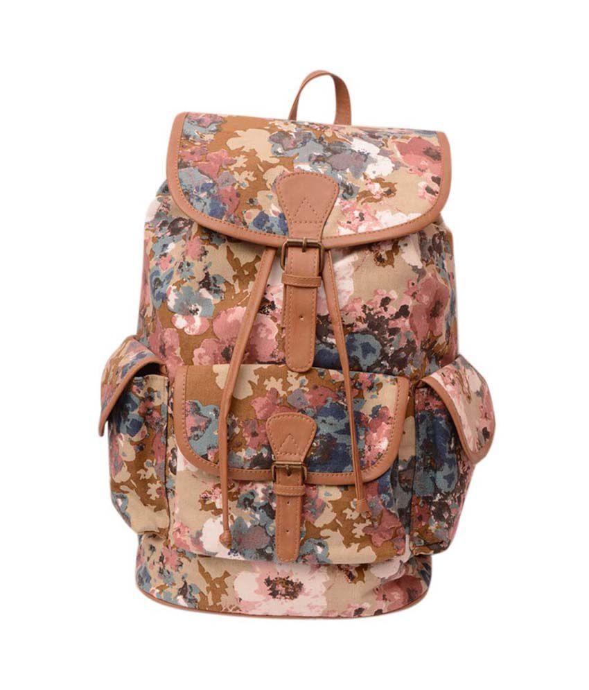 Moac Multicolour Printed Canvas Women Backpack - BP-037