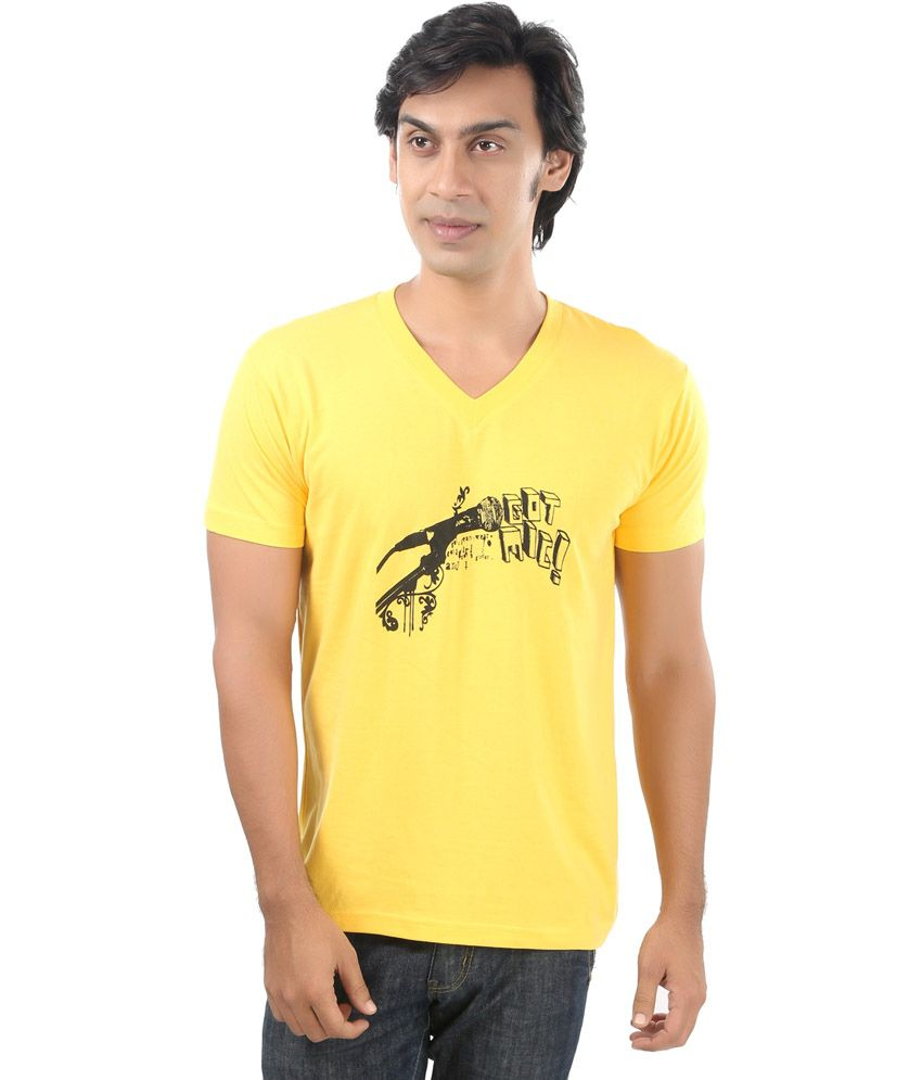 Posh 7 Yellow Mike Printed Cotton V Neck T Shirt