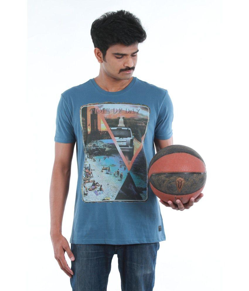 Dream Knits Cotton Blue Printed Men T Shirt