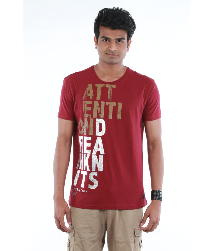 Dream Knits Cotton Red Printed Men T Shirt