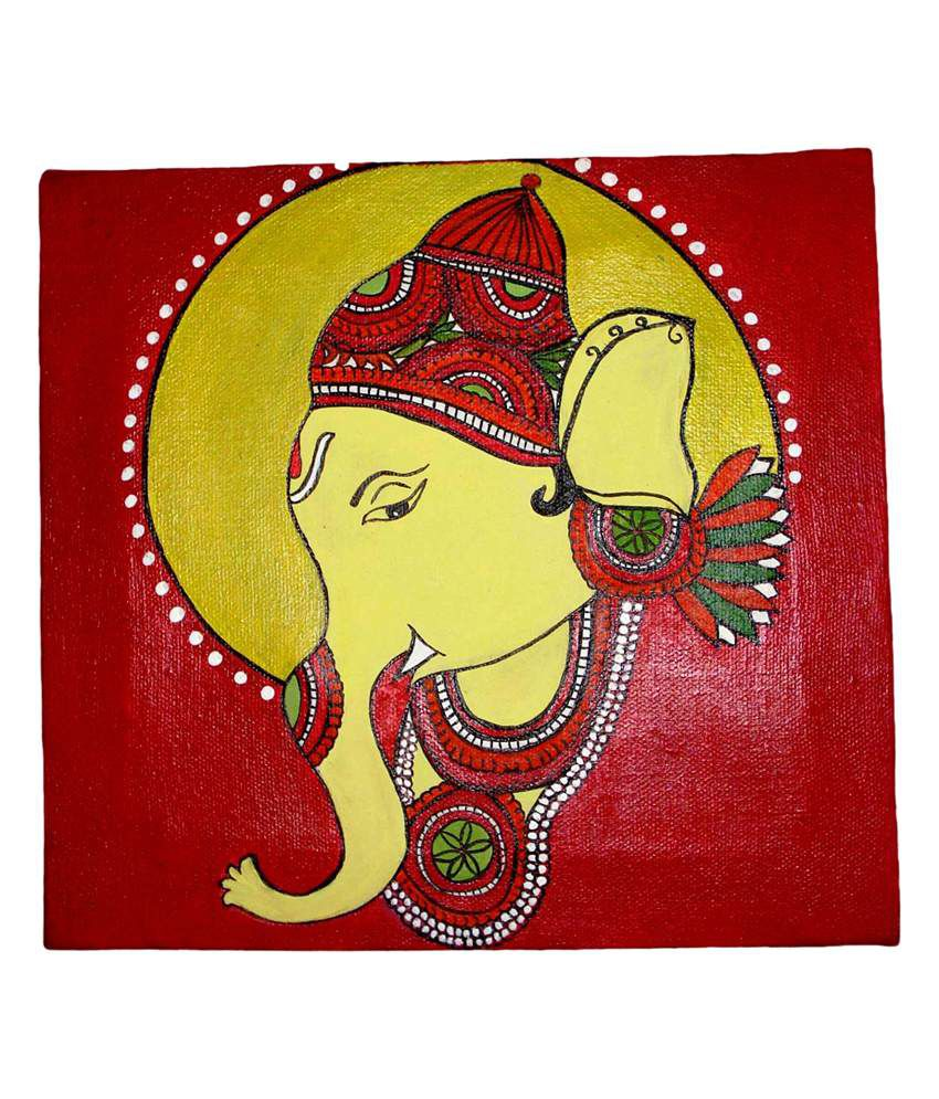 Fusion Gallery Ganesha Painting - Red