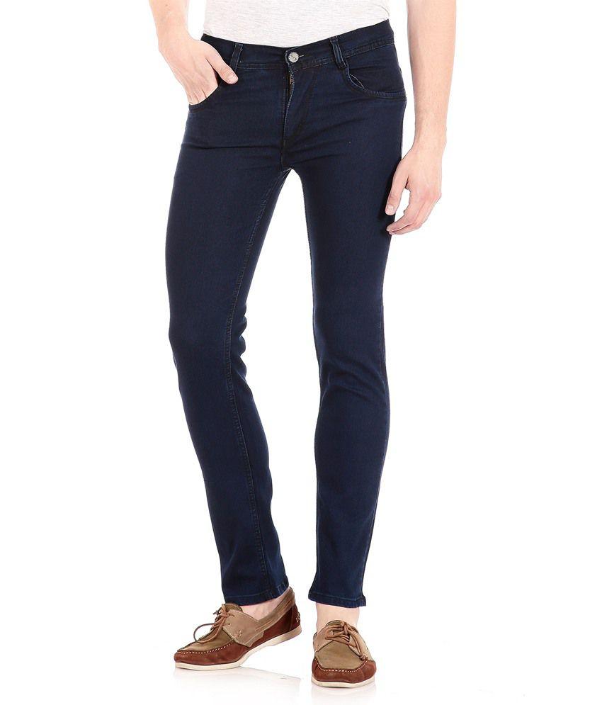 FlyJohn Men's Dark Blue Denim Jeans
