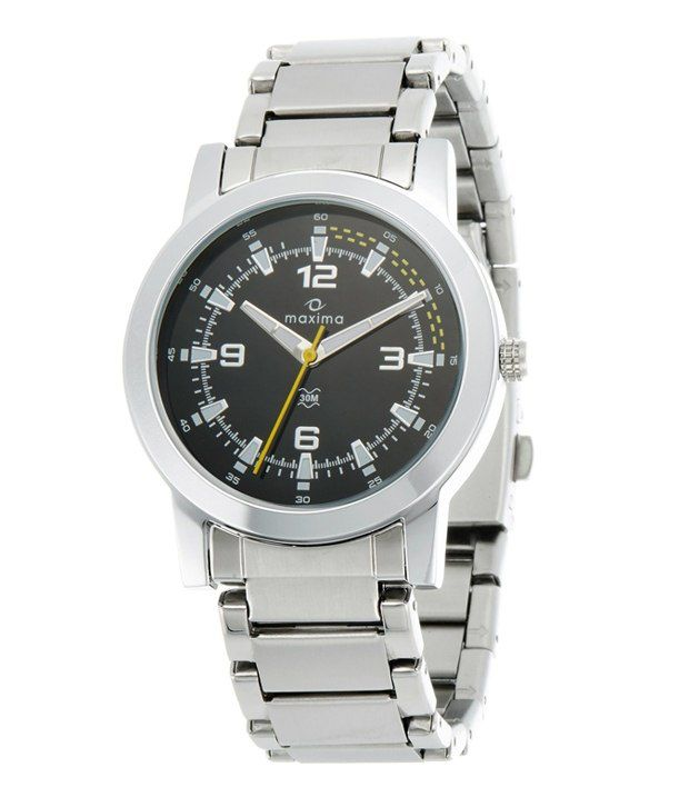 Maxima Black Stainless Steel Formal Watch