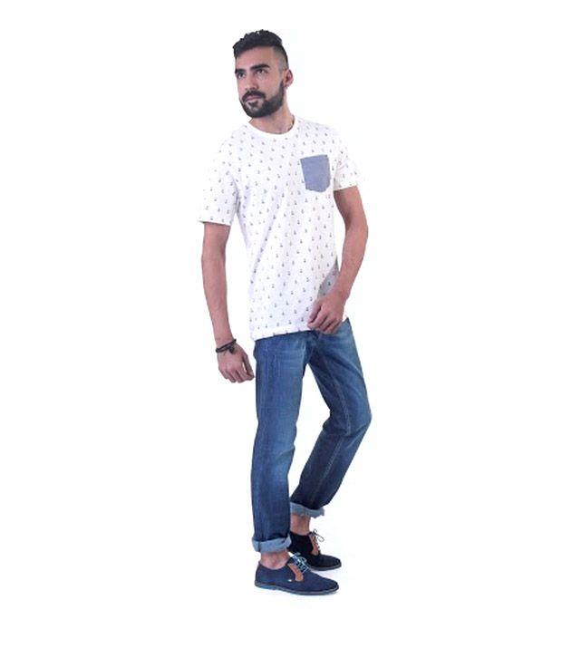 Levi's Printed White Round Neck T Shirt