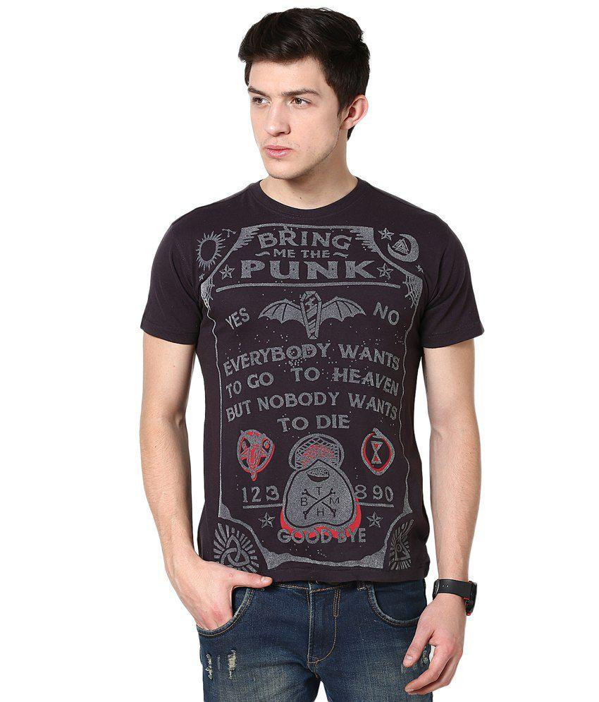 PUNK Brown Cotton T Shirt For Men