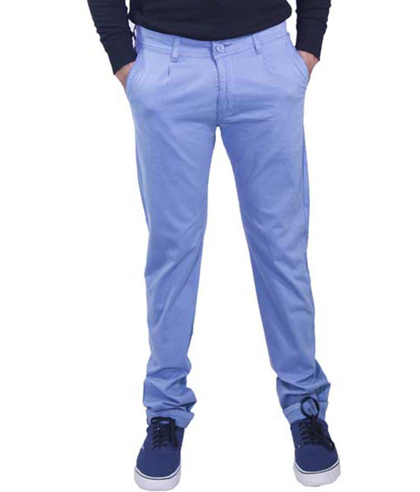 Rollister Stylish Blue Cotton Lycra Casuals Chinos
