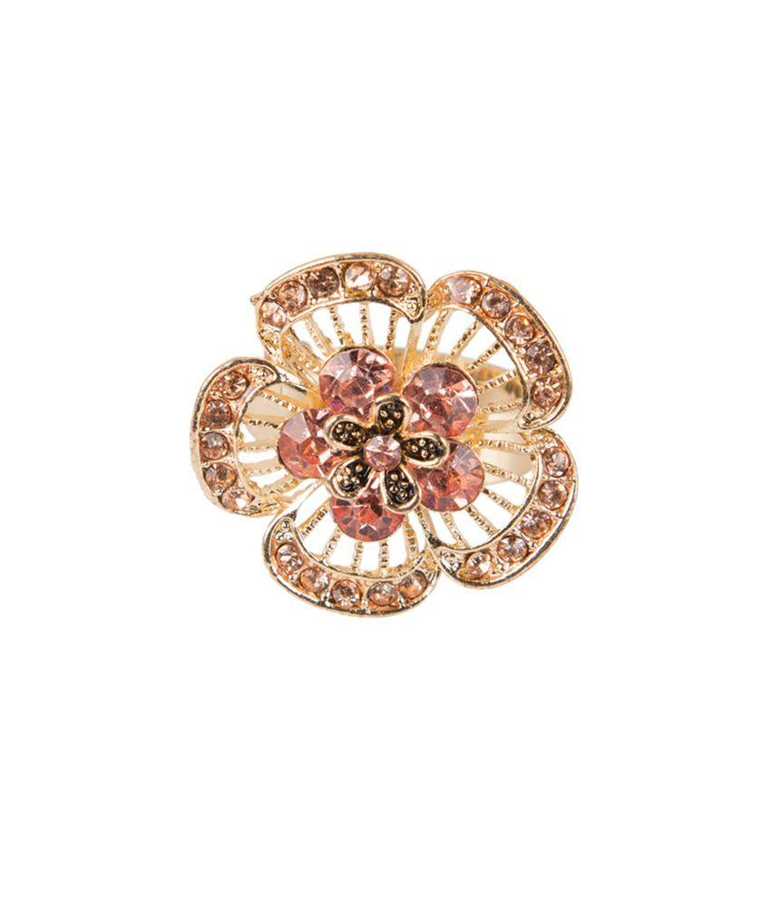 Taj Pearl Golden Color Alloy Floral Designer Ring
