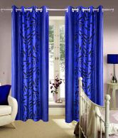HOME BEAUTY NAVY BLUE CONTEMPORARY LONG DOOR CURTAIN SET OF 2