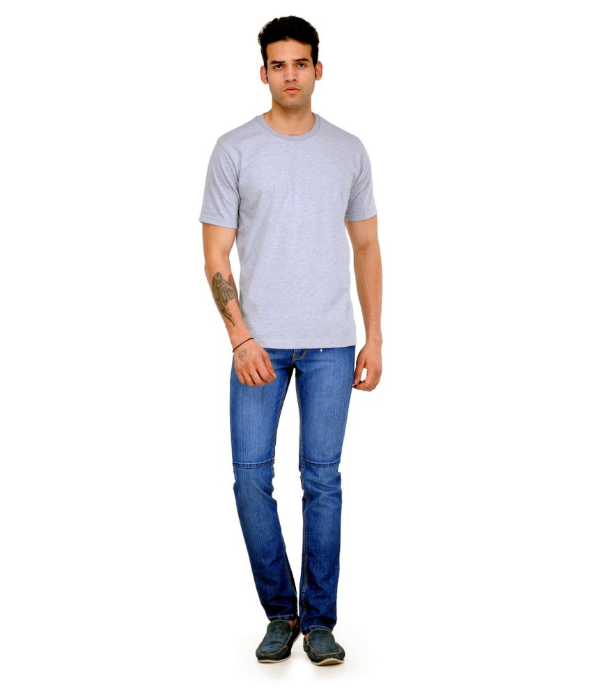 Bio Wash Gray Cotton T Shirt