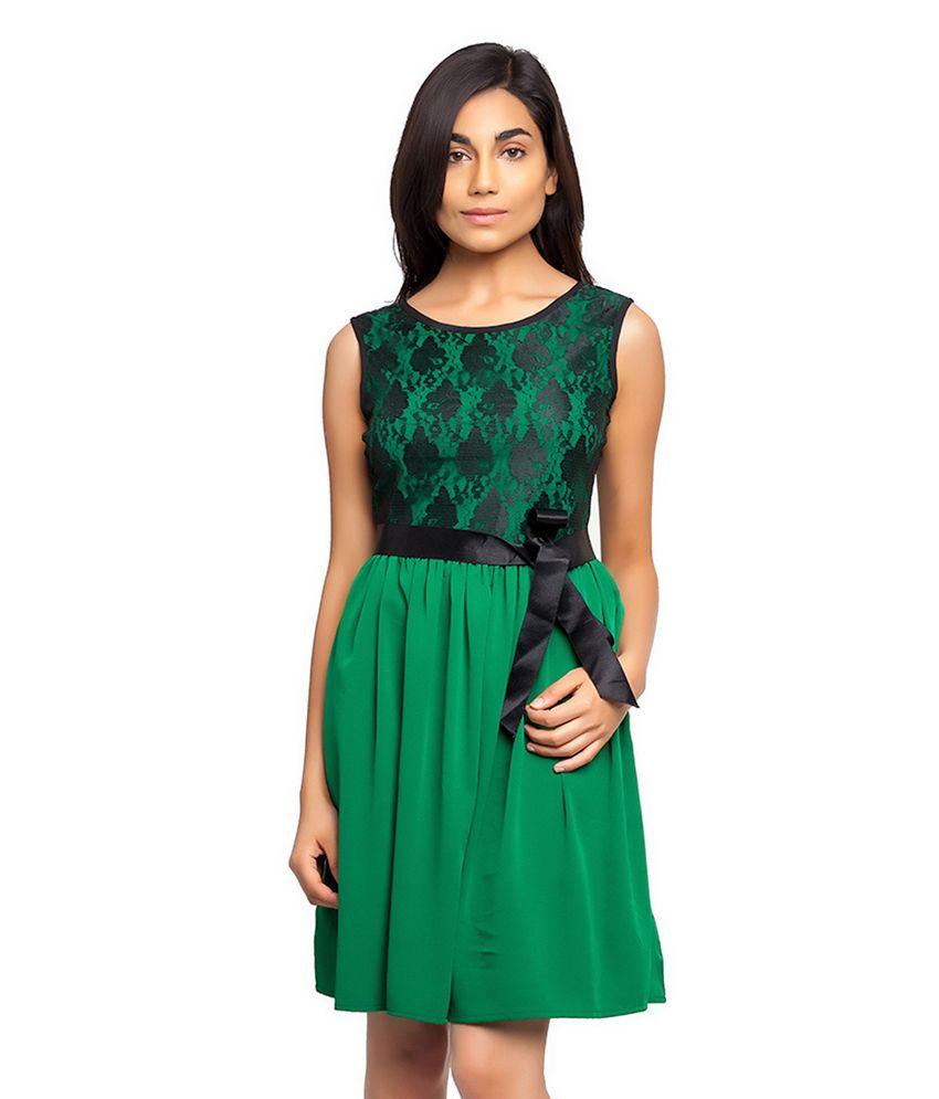 Femninora Green Poly Crepe A Line Dress