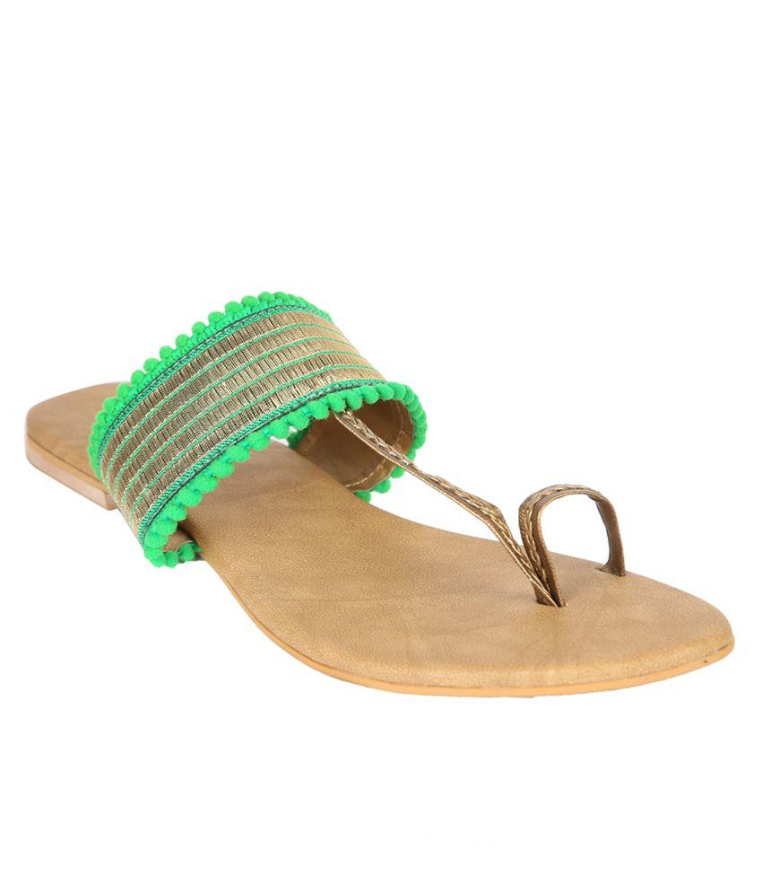 Indulgence Voguish Green Leather Flat Slip - On