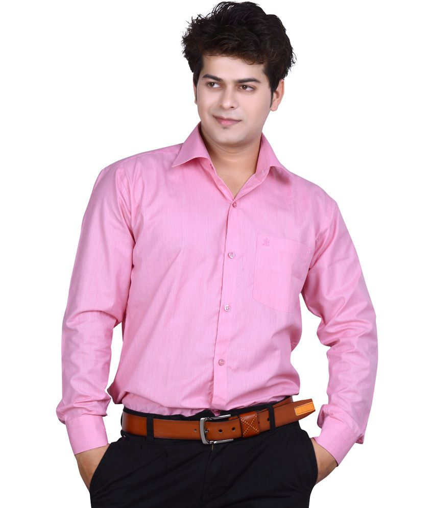 Ishin pink 100 percent cotton regular fit formal shirt 100 cotton tuxedo shirt