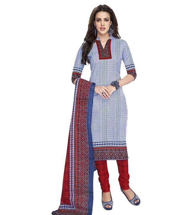 Jai Ganesh White Cotton Unstitched Dress Material