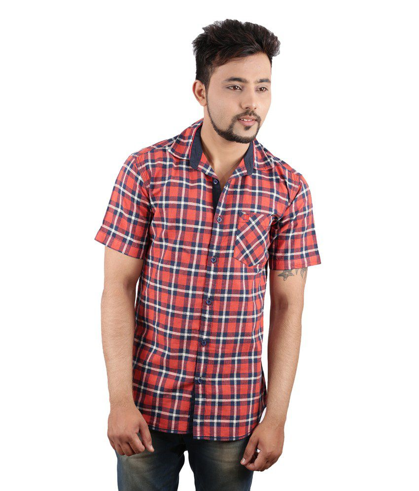 Red 100 percent cotton slim fit casual shirt buy for No tuck shirts mens