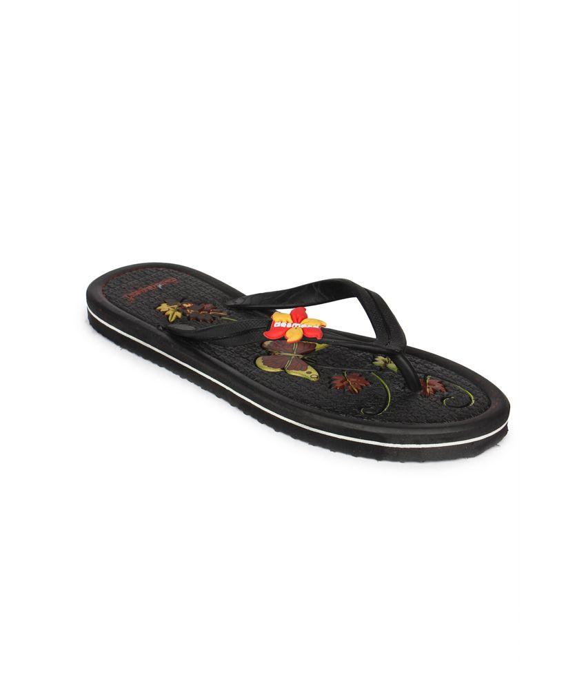 11e Black Flat Hawai Flip Flops