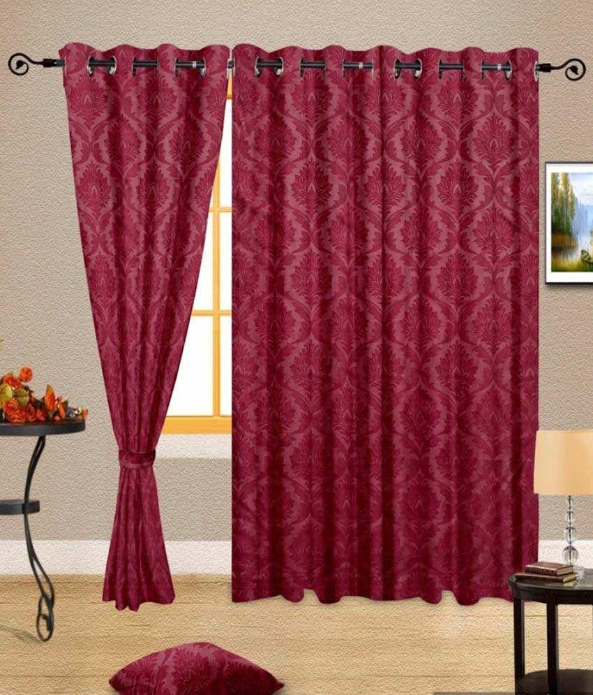 Window curtain - Cortina Single Window Eyelet Curtain Red