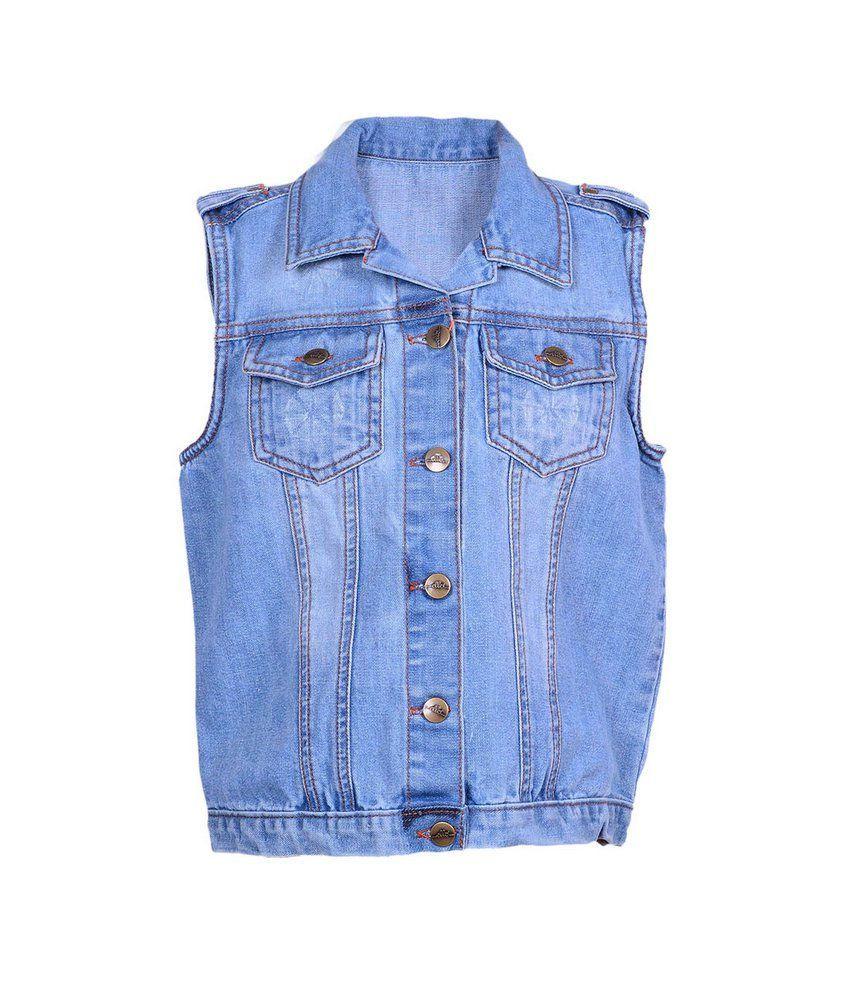 Ello Lt Indigo Sleeve Less Jacket For Kids