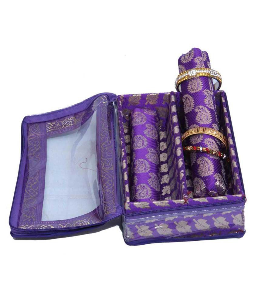 Kuber Industries Bangle Box 2 Rod in Royal Blue Brocade