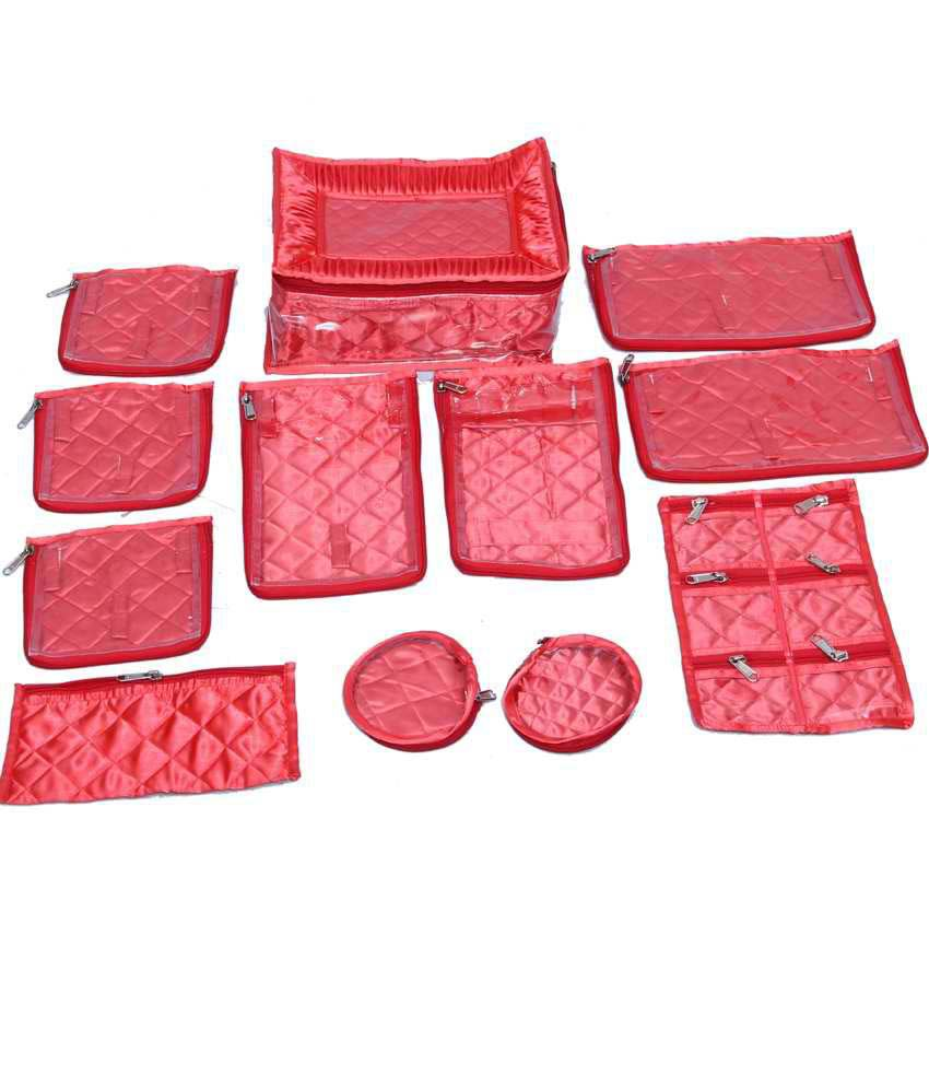 Kuber Industries Jewellery Kit locker with 12 pouches pink satin