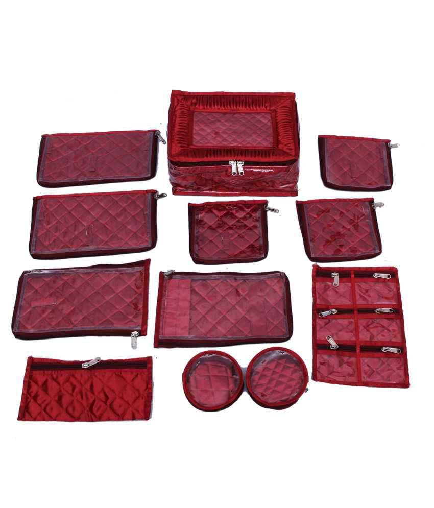 Kuber Industries Jewellery Kit locker with 12 pouches (Maroon Satin)