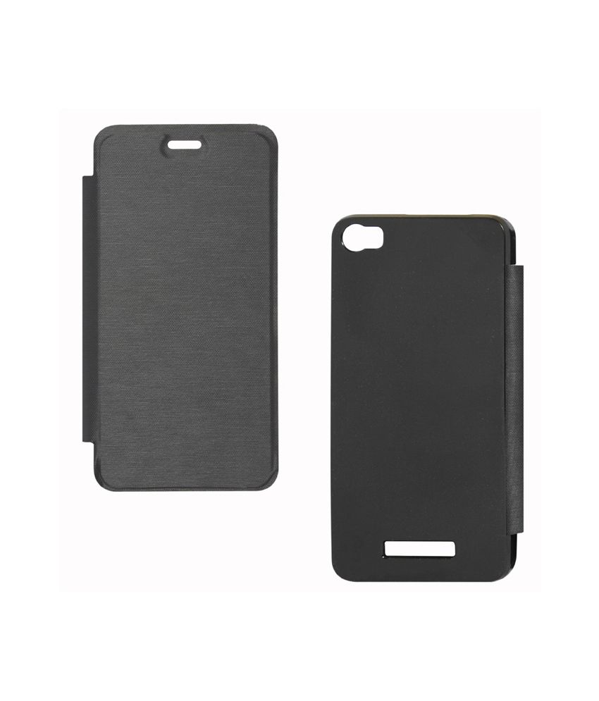Premium Black Synthetic Flip Flap Cover for Samsung 5830