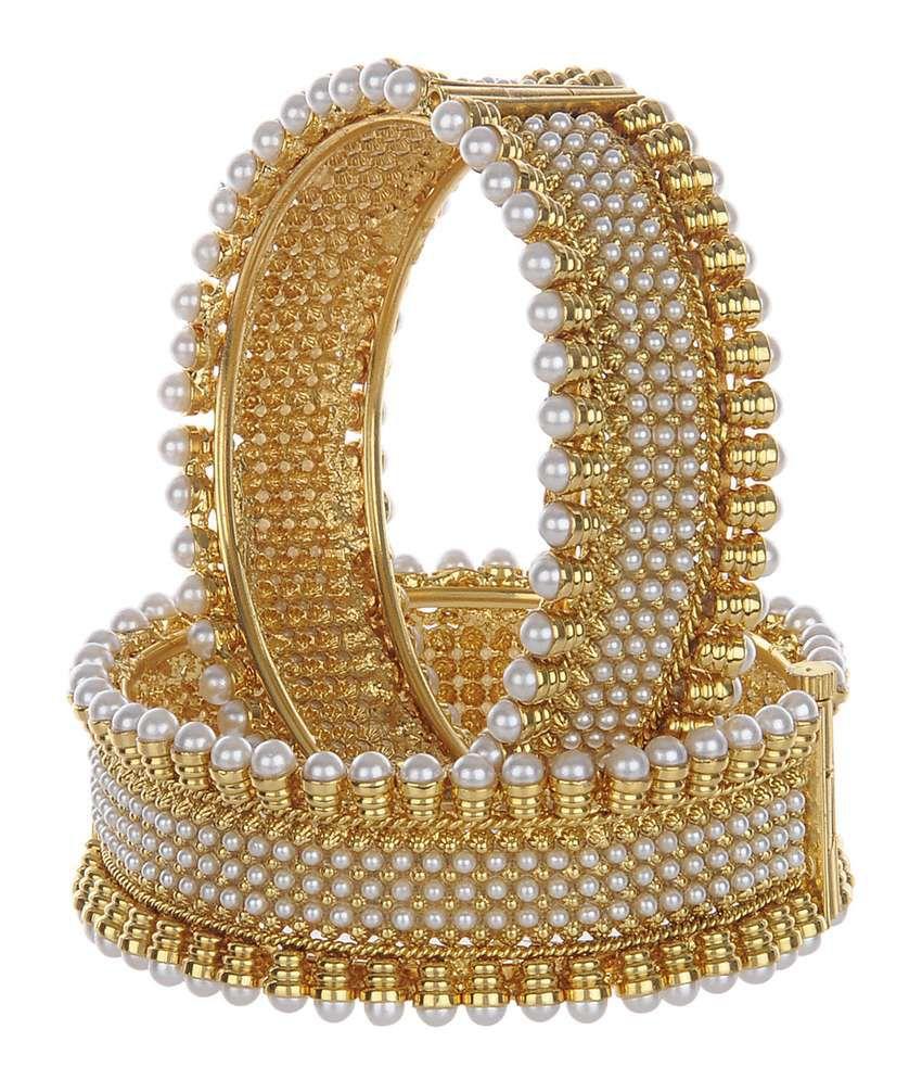 Shining Diva Royal 18Kt Gold Plated Copper Kadas (Set of 2)