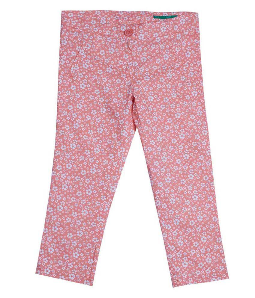 United Colors of Benetton Printed Coral Casual Polka And Floral Capris
