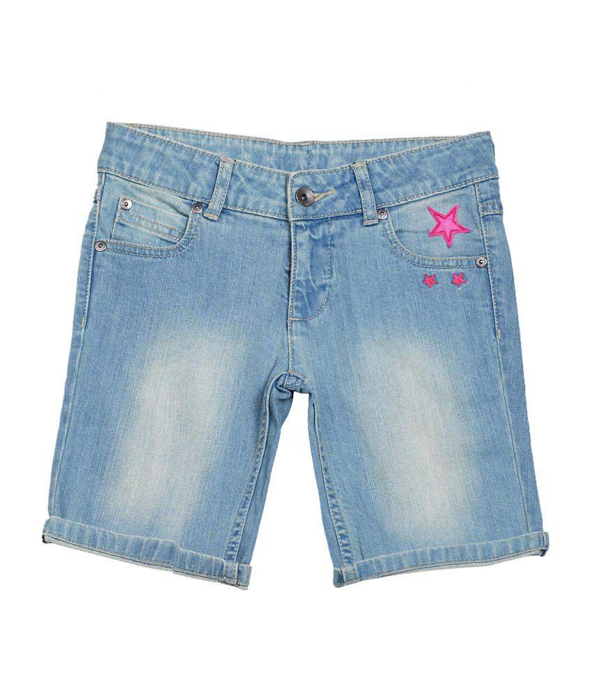 United Colors of Benetton Solid Blue Casual Denim Shorts Wth Turn Up