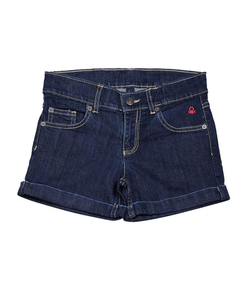 United Colors of Benetton Solid Blue Casual Basic Denim Shorts