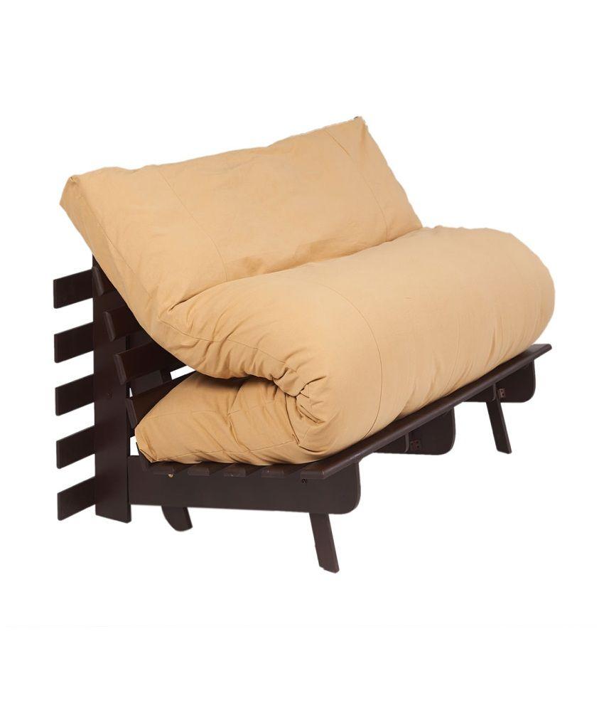 Arra Double Futon Sofa Cum Bed With Mattress Light Brown