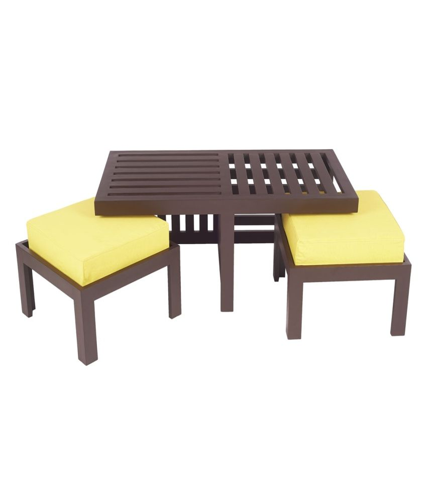 Arra trendy coffee table with two stools lemon yellow for Coffee tables trendy