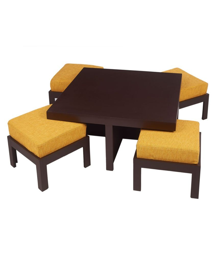 Arra trendy coffee table with four stools yellow buy for Trendy coffee tables