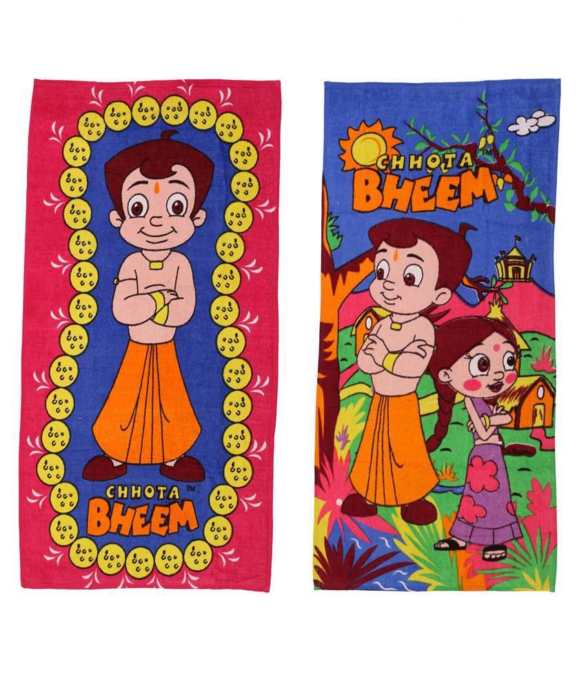 Chhota Bheem Pink & Orange Baby themes 2 Towels