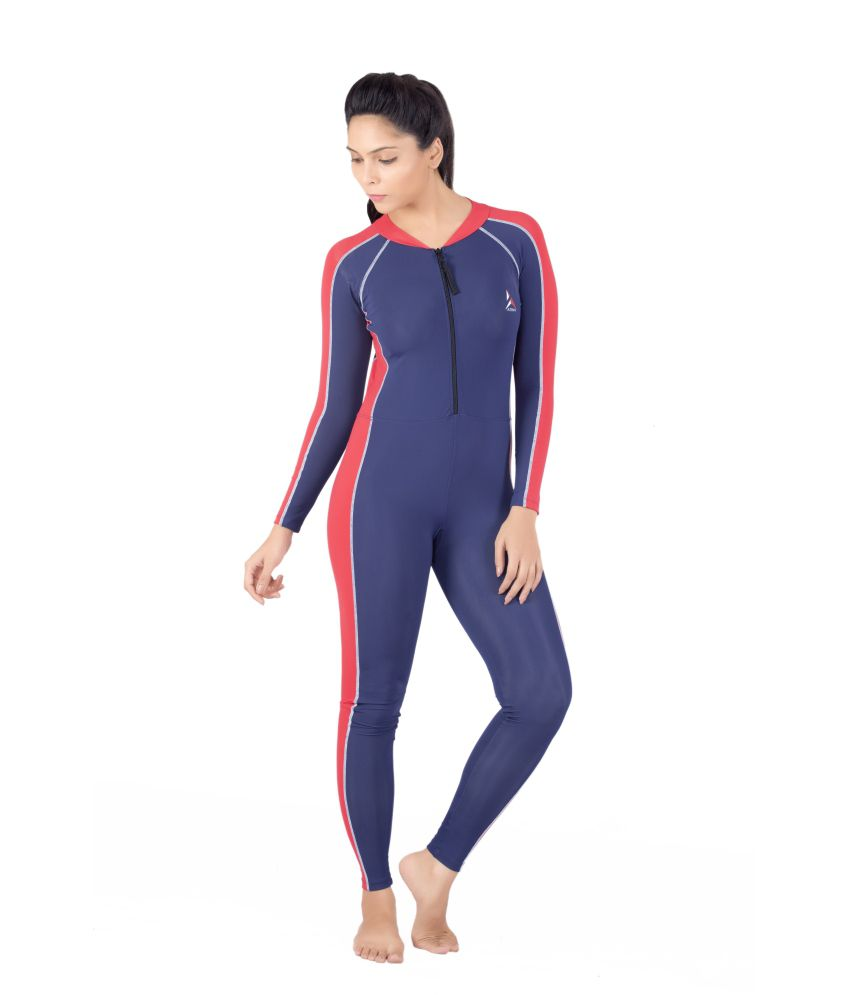 Attiva Sk 003 Unisex Skating Suit Full Sleeves Full Length-Navy With Red