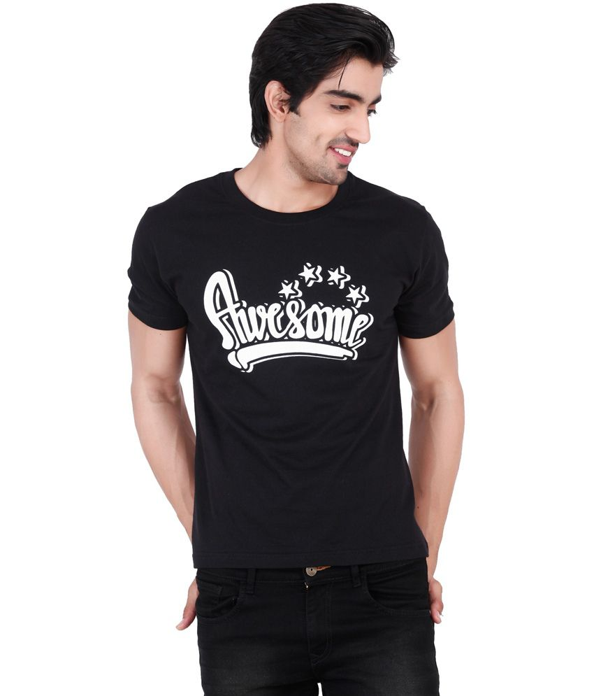 Change360 Black Cotton Awesome Chest Print T Shirt