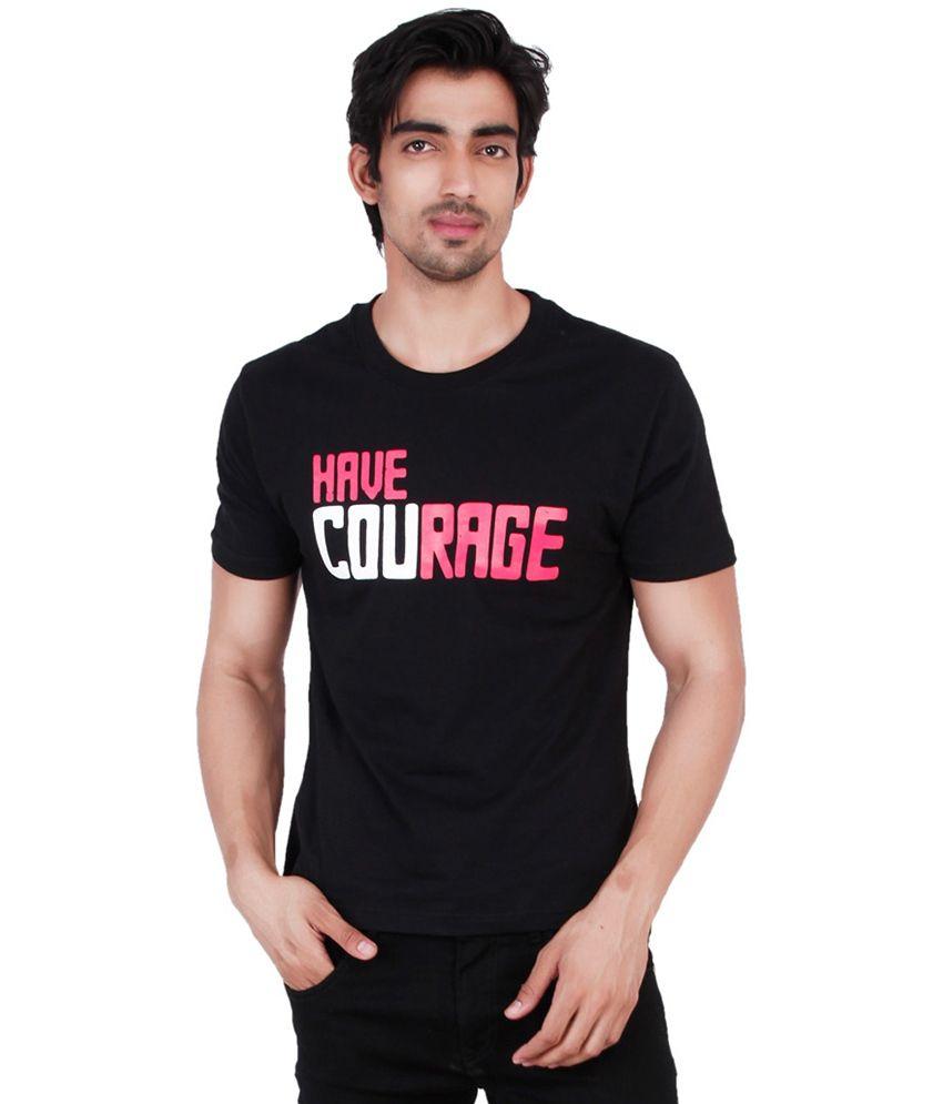 Change360 Black Cotton Have Courage Chest Print T Shirt