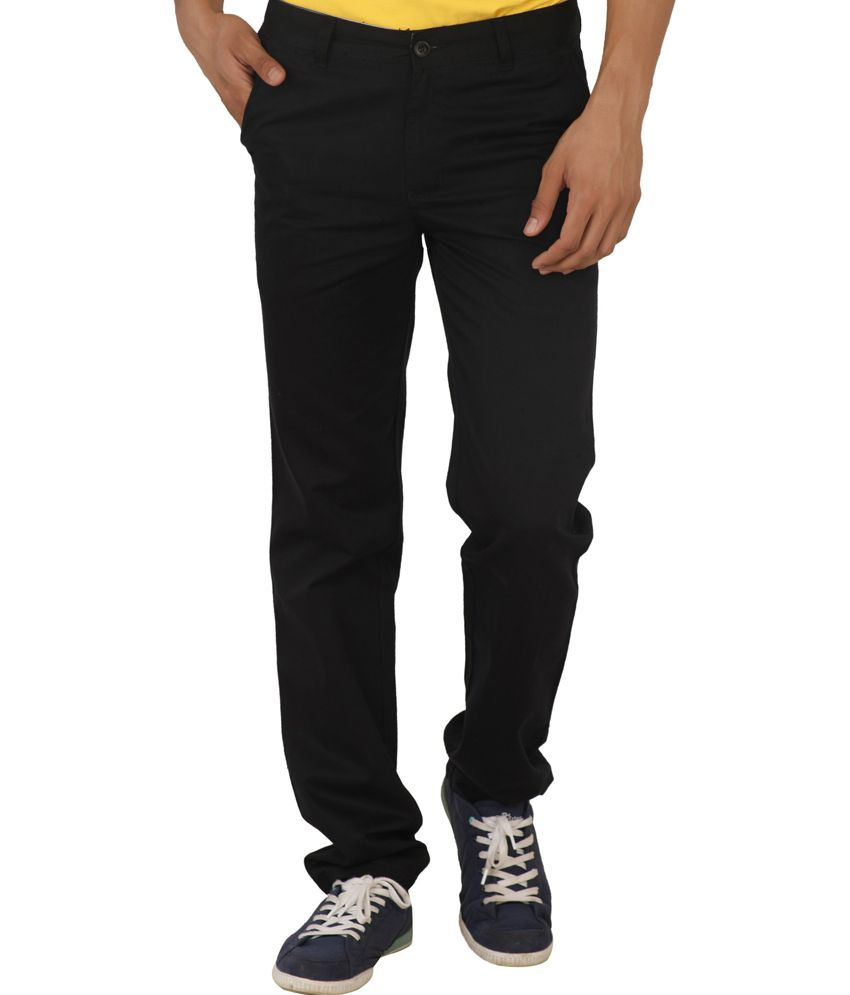 Change360 Black Cotton Men's Classic Chinos