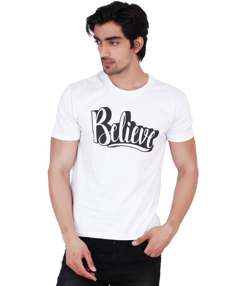 Change360 White Cotton Believe Chest Print T Shirt