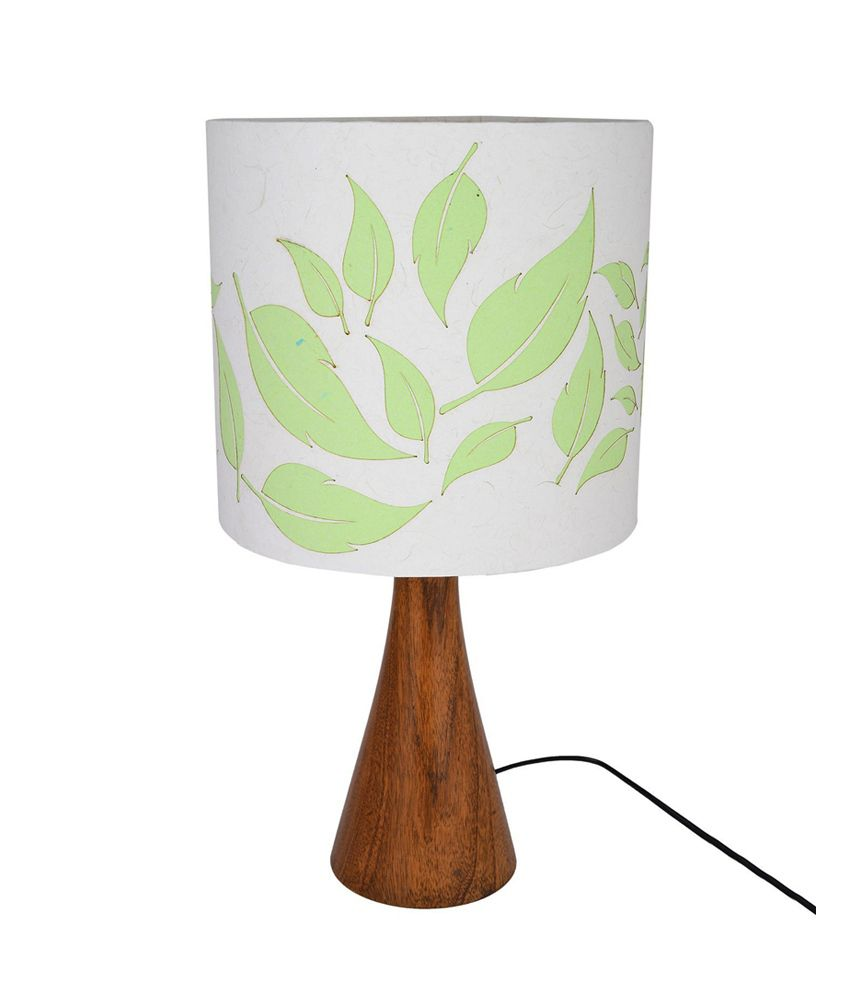 Craftter Flying Leaves Designer Wooden Base White and Green Table Lamp