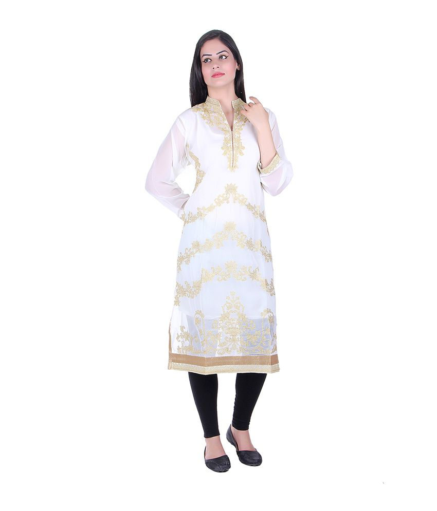 Sellsy Gold Georgette Embroidered Kurti