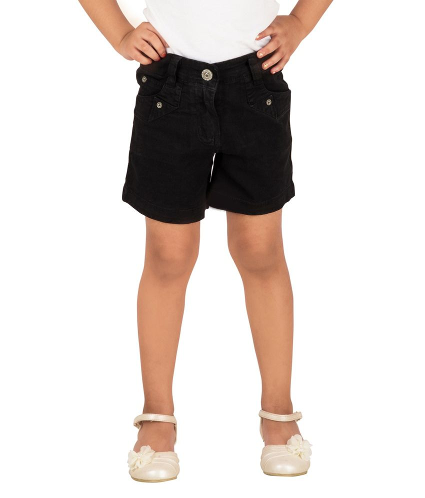 Tangerine Black Cotton Shorts