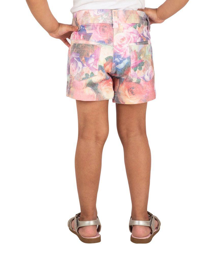 Tangerine Digital Denim Print Multicolor Shorts