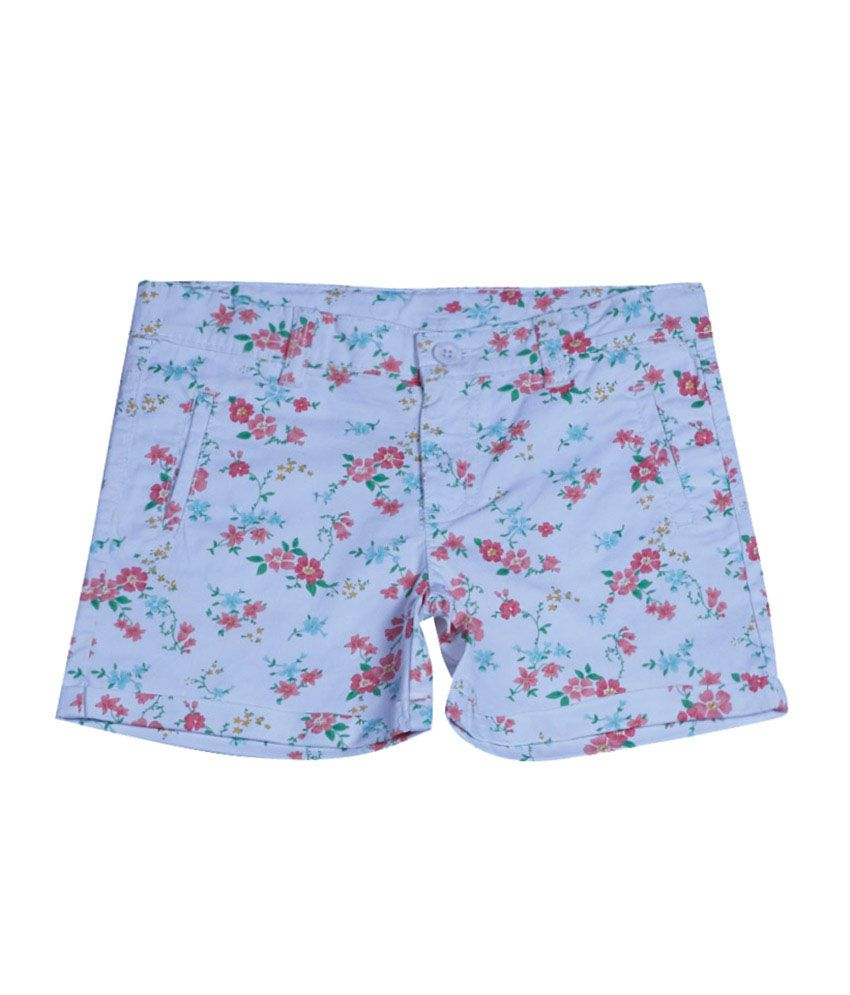 United Colors of Benetton Printed White Casual Shorts With Fruit Print