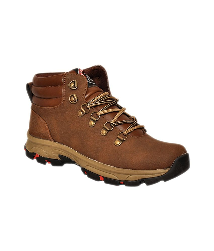 Black Tiger Brown Synthetic Leather Boots