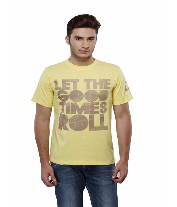 Delhi Daredevils Yellow Printed Cotton Round Neck T-shirt