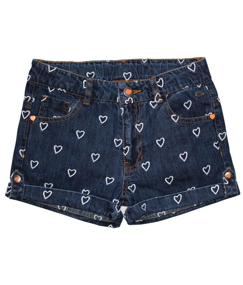 FS Miniklub Summer Sentiments Girls Embroidered Denim Shorts