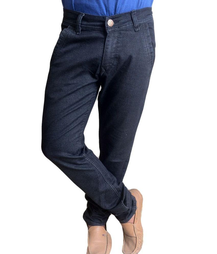 Fashion Black Cotton Blend Jeans For Men